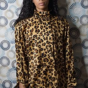 Escada Cheetah Print Silk Blouse
